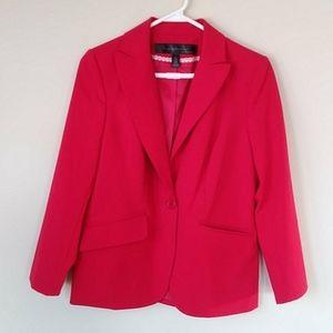 Apostrophe Lined Stretch Red Blazer Jacket